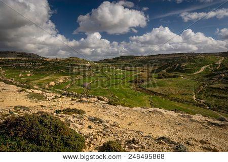 Gozo Interior Rural Landscape, Malta, Winter.