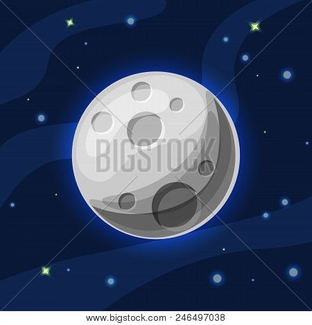 Vector Grey And Blue Moon In Deep Dark Blue Space With Cartoon Glow. Flat Modern Style. Moon In Spac