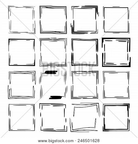 Set Of Black Rectangle Grunge Frames. Geometric Empty Borders. Vector Illustration.