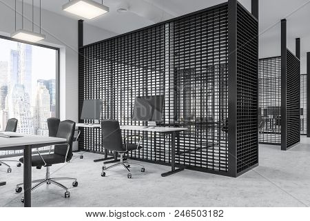 Black Office Cubicles With White Computer Tables And Black Office Chairs. Panoramic Windows. 3d Rend