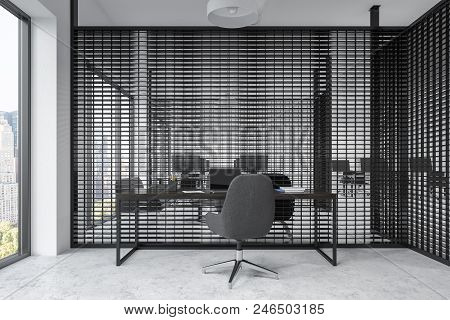 Black Office Cubicles With White Computer Tables And Black Office Chairs. Panoramic Windows. Front V