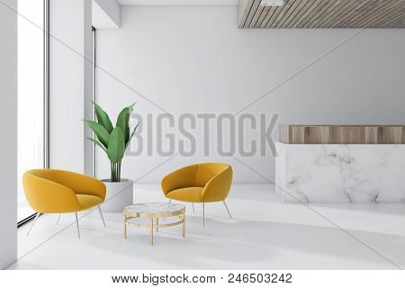 White Wall Office Waiting Room Interior With A Marble Floor, A Reception, And A Coffee Table With Ye