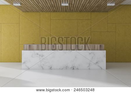 Yellow Wall Office Waiting Room Interior With A Marble Floor, And A White Marble And Wood Reception.