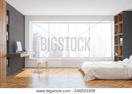 White And Gray Wall Bedroom Corner With A White Bed Standing Between Bookcases On A Wooden Floor. A