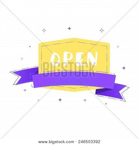 Open Singboard Isolated On White Background. Retro Badge With Ribbon. Vector Illustration.