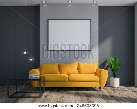 Gray And Black Living Room Interior With A Wooden Floor And A Long Comfortable Yellow Couch Standing