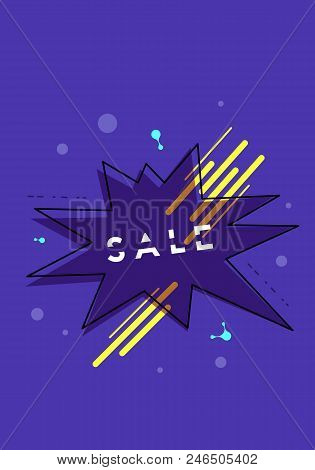 Sale Banner With Star Shape And Geometric Abstract Composition. Promotion Card With Text. Vertical P