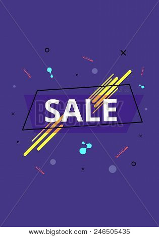 Sale Banner With Geometric Abstract Composition. Promotion Violet Card With Text. Vector Illustratio