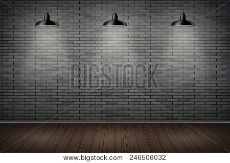 Interior Of Prison With Black Brick Wall And Vintage Pedant Lamps. Vintage Jail And Prison Cell. Con