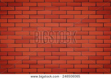 Texture Of Red Brick Wall. Closeup View. Vintage Rural Room And Fashion Interior. Grunge Industrial