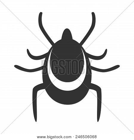 Tick Icon. Mite Silhouette. Vector Illustration. Isolated On White Background.