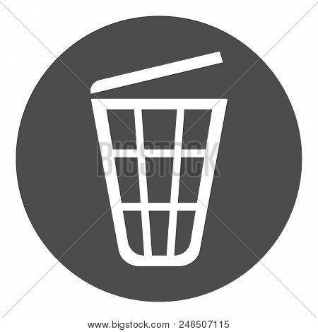Wastebasket With Cover. Trash Bin Sign. Vector.