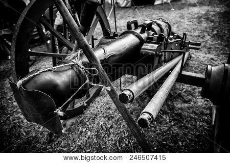 Old War Cannon, Detail Of Firearm, Art