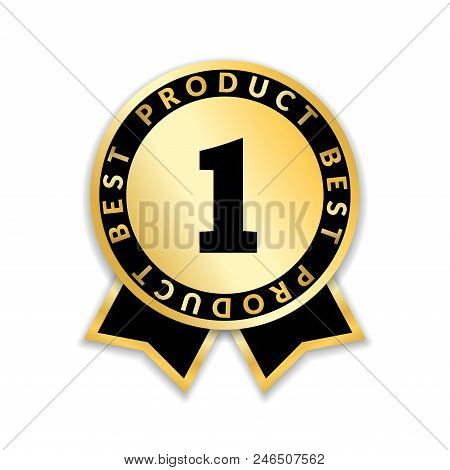 Ribbon Award Best Product. Gold Ribbon Award Icon With Number One Isolated On White Background. Best