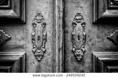 Wooden Door With Metal Knockers, Door Detail Of A Decorated, Safety And Security