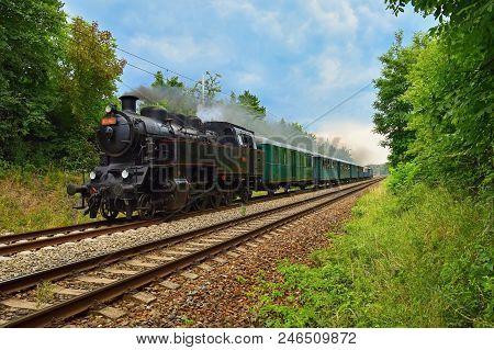 Beautiful Old Czech Train With Steam Locomotive. Concept For Retro, Travel And Train Travel. Train T