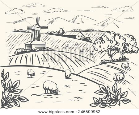 Windmill, Village Houses And Farmland. Vector Sketch Drawn By Hand On A White Background