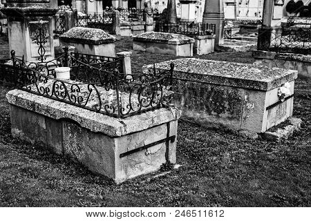 Ancient Tombs In A Cemetery, Detail From A Grave In An Old Abandoned Christian Cemetery