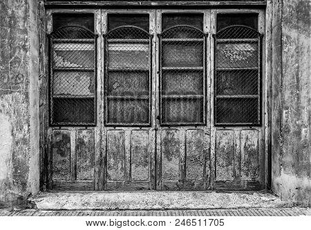 Old Abandoned Wooden Door, Detail Of Wooden Doors In The City