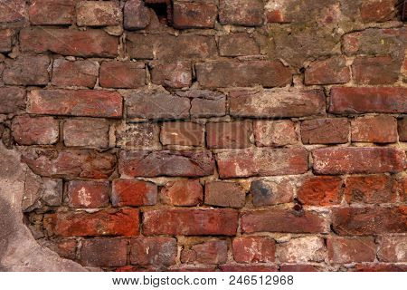old brick wall - vintage red texture