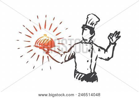 Chef, Pot, Meal, Restaurant Concept. Hand Drawn Chef In Restaurant With Pot Of Meal In Hand Concept