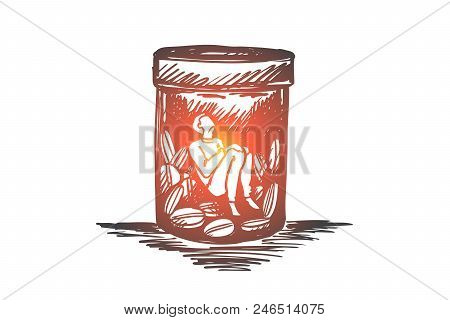 Painkiller, Addiction, Drugs, Disease Concept. Hand Drawn Man Sitting Inside Of Buttle With Drugs Or