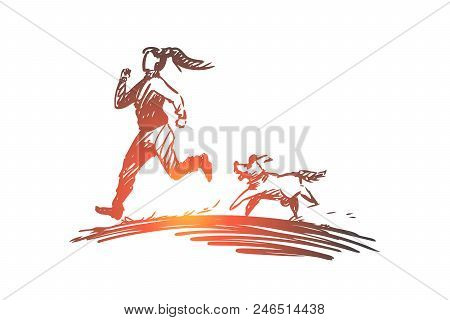 Girl, Dog, Run, Sport, Jogging Concept. Hand Drawn Woman Running With Dog In The Morning Concept Ske