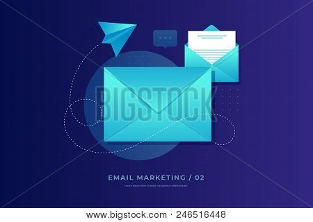 Mobile E-mail Notification Concept. Close And Open Post Envelopes And Paper Airplane On Blue Backgro