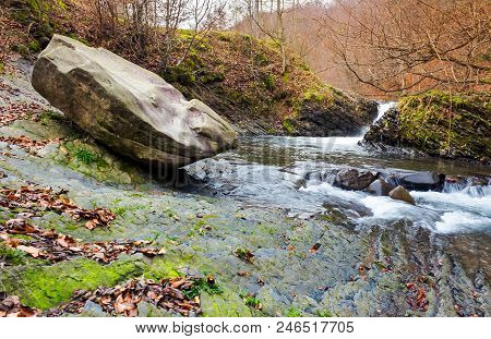 Giant Boulder And Small Cascade On The River. Lovely Autumn Scenery Of Carpathian Nature. Location N