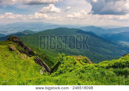 Cliffs And Grassy Hills Of Pikui Mountain. Beautiful View From The Top. Borzhava Ridge In The Distan