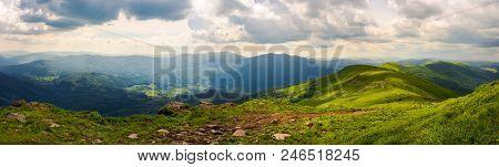 Panorama Of Great Carpathian Water Dividing Ridge. Beautiful Summer Landscape Runa And Gostra Mounta