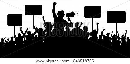 Crowd Of People Silhouette Vector. Transparent, Protest Slogans. Speaker, Loudspeaker, Orator, Spoke