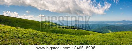 Beautiful Panorama Of Runa Mountain Hills. Wonderful Cloudscape On A Blue Sky Over The Distant Mount