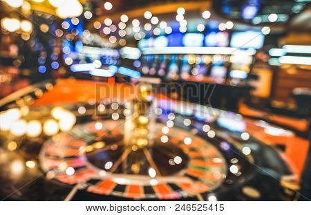 Blurred Defocused Background Of Roulette At Casino Saloon - Gambling Concept With Unfocused Game Roo