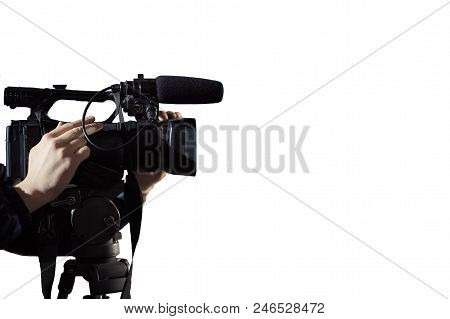 Operator Shoots On Camera, Isolated On White Background