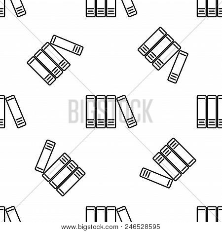 Office Folders With Papers And Documents Line Icon Seamless Pattern On White Background. Archives Fo