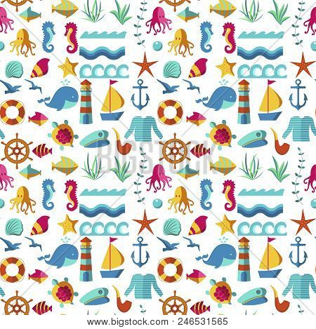 Seamless Patterns With Nautical Elements Wave Paper Ocean Sea Blue Texture Wallpaper Marine Vector I