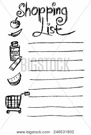 Shopping List. Vector Illustration Of A Blank Shopping List