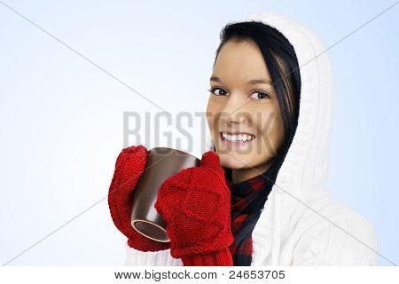 Cute Girl Drinking Hot Beverage