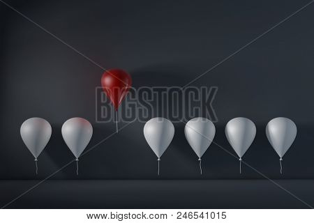 Stand out from the crowd and different concept , One red balloon flying away from other white balloons. 3D rendering.