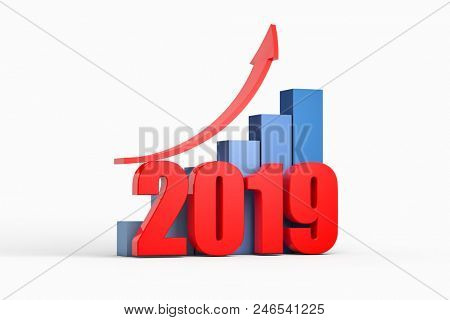 chart and arrow with 2019 ,business concept