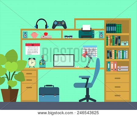 Workplace Of The Schoo Kid - Flat Style.  Illustration. Illustration Workspace, Concepts For Busines