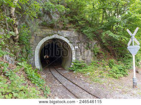 Train In Narrow-gauge Railway Tunnel In Lillafured, Hungary