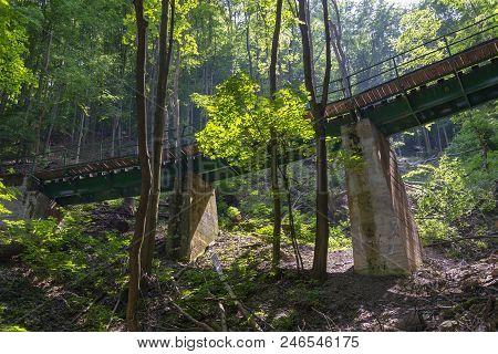 Narrow-gauge Railway Bridge In Forest In Lillafured Near Miskolc, Hungary.