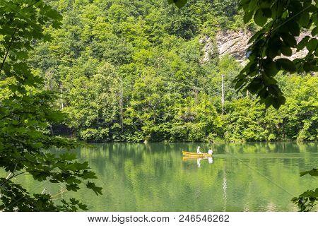 Green Hamori Lake In Lillafured Near Miskolc, Hungary. Springtime Landscape In Beech Mountains With