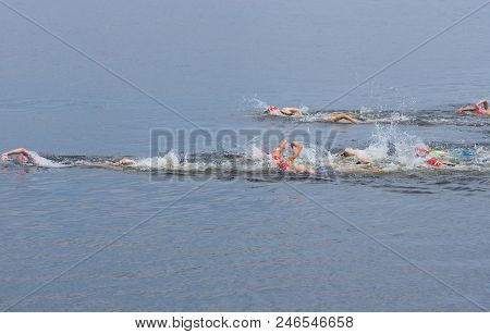 Dnipro, Ukraine - June 03, 2018:group Of Athletes Competing At The Womens Swimming Race During Dnipr