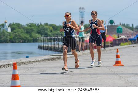 Dnipro, Ukraine - June 03, 2018:second (raz Poradosu) And Third Place (shira Katz) Competing At The