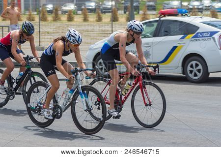 Dnipro, Ukraine - June 03, 2018:winner, Runner Up And Third Place Competing At The Womens Bicycle Ra
