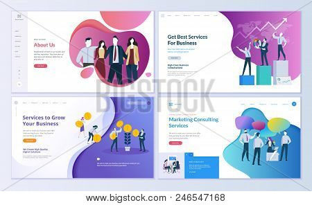 Set Of Web Page Design Templates For Business, Finance And Marketing. Modern Vector Illustration Con