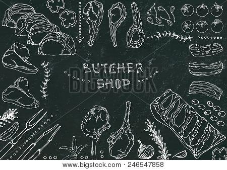 Butcher Shop. Meat Cuts - Beef, Pork, Lamb, Steak, Boneless Rump, Ribs Roast, Loin And Rib Chops. To